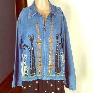 Denim jacket with Appliqué Cats Size M Full Zip